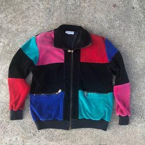 Jackets & Blazers - Vintage Multi-Color Velour Zip Up Jacket